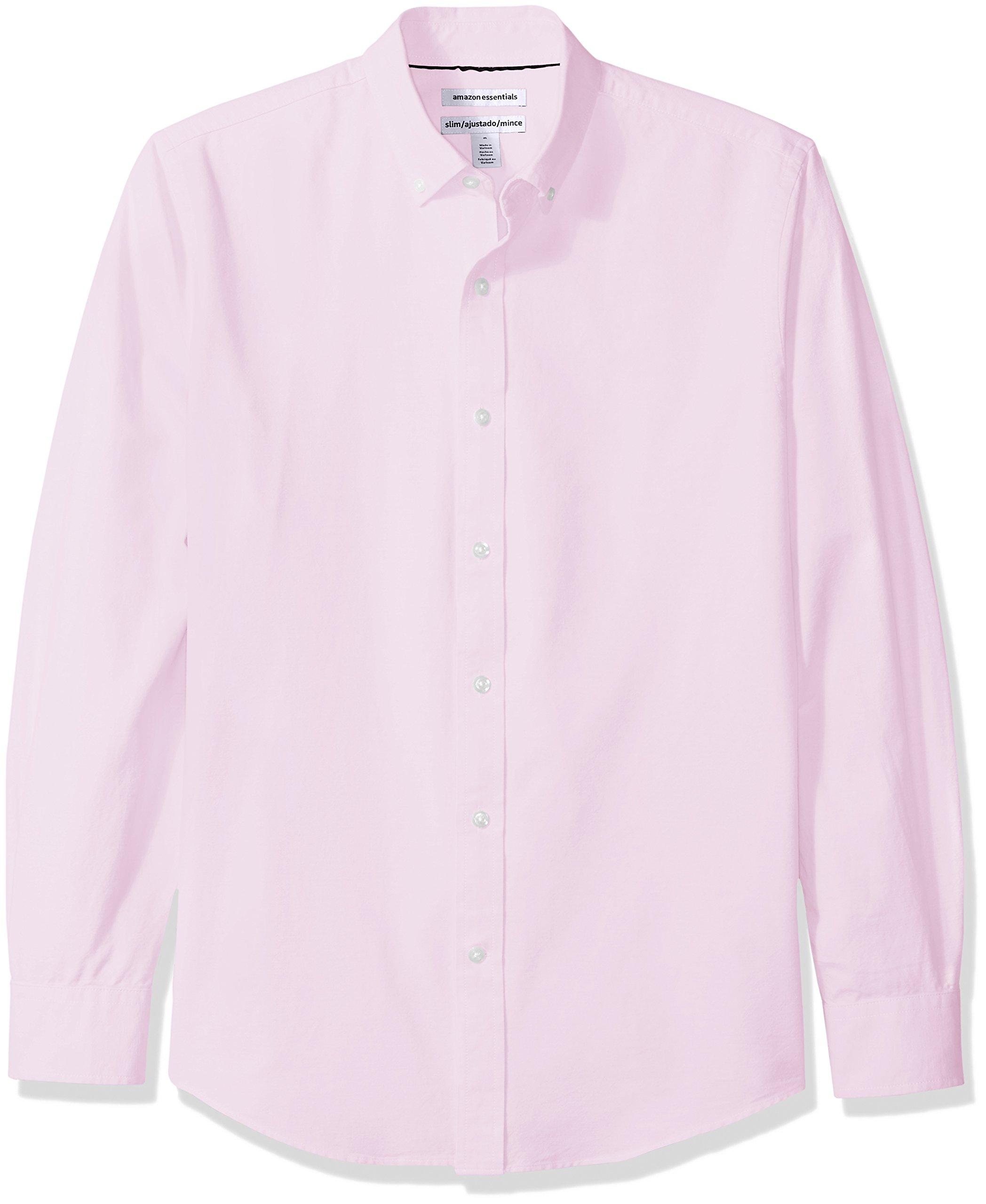 Amazon Essentials Men's Slim-Fit Long-Sleeve Solid Oxford Shirt, Pink, Medium