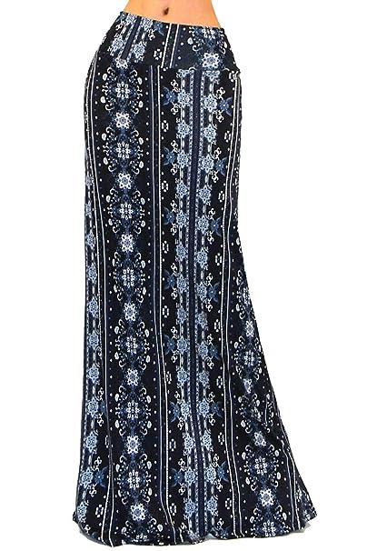8f0e17546e Vivicastle Women s Colorful Printed Fold Over Waist Long Maxi Skirt (Small