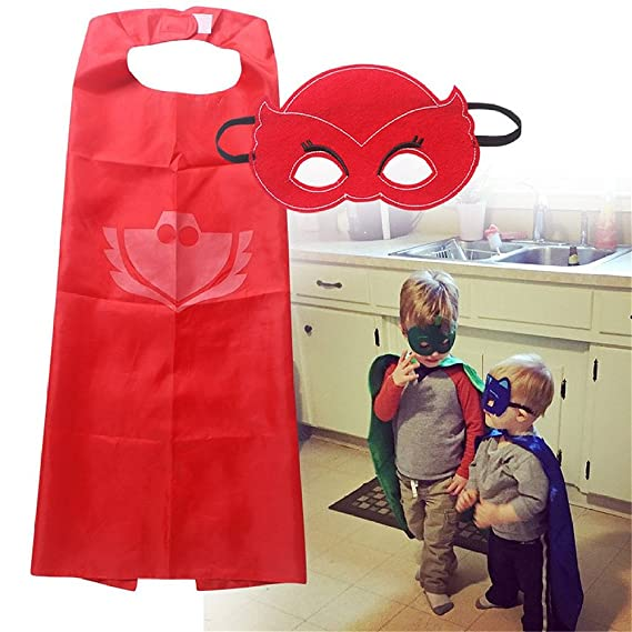 Amazon.com: PJ Masks Costumes Set of 3 Capes and Masks with Hair Bands For Kids Catboy Owlette Gekko Dress Up: Toys & Games