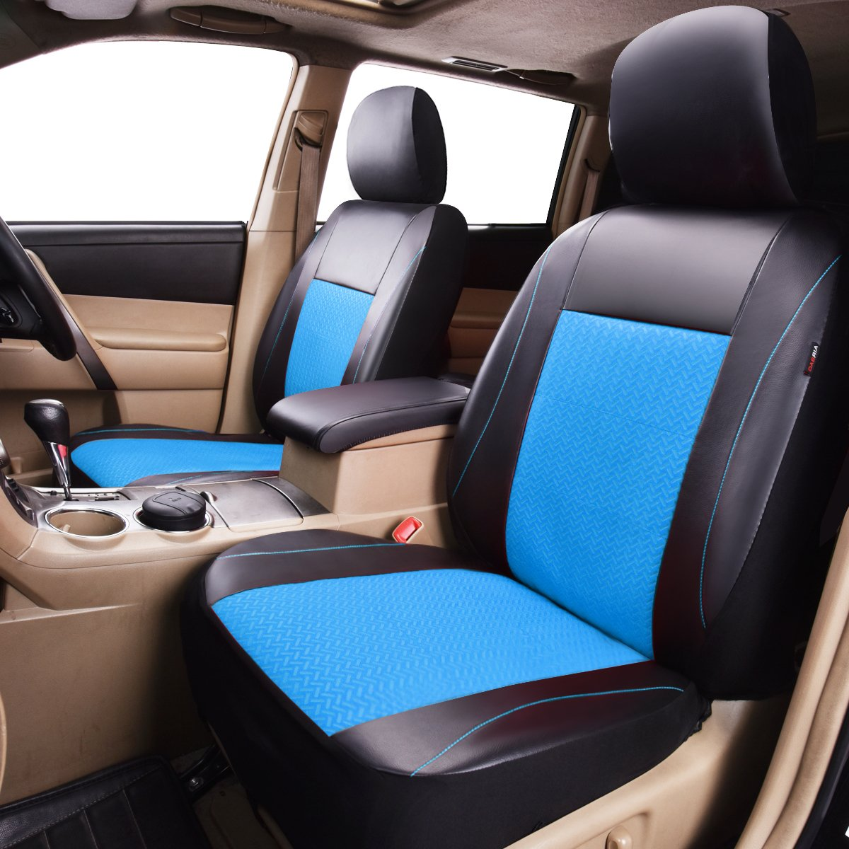 Black with Blue HORSE KINGDOM Universal Car Seat Covers Faux Leather Full Seat 11 pcs Airbag Compatible Breathable