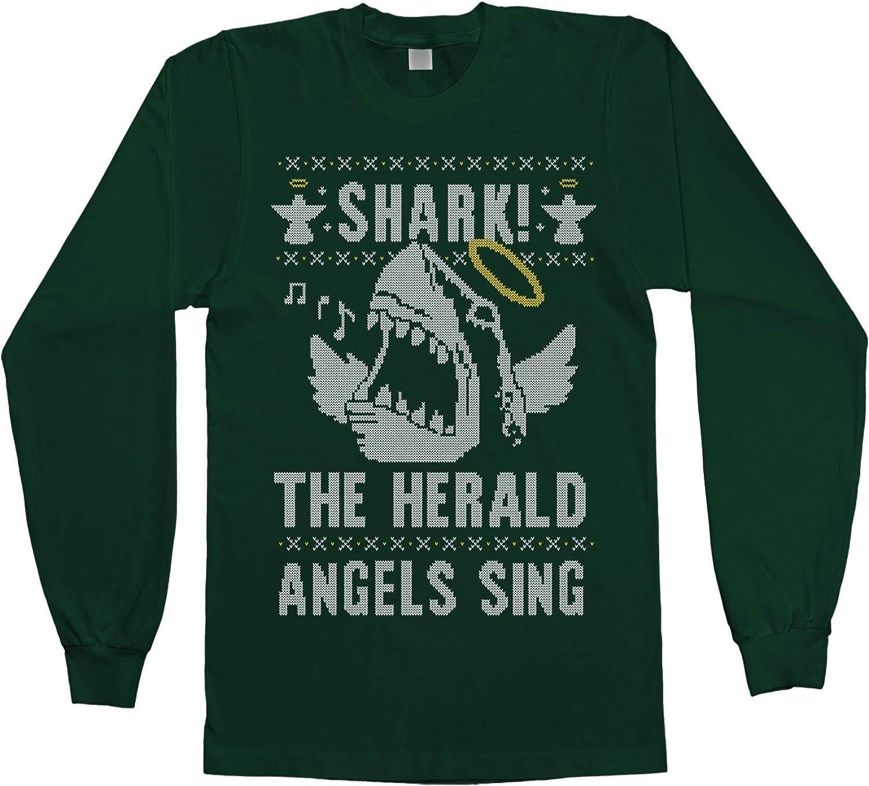 Threadrock Men's Shark! The Herald Angels Sing Long Sleeve T-Shirt