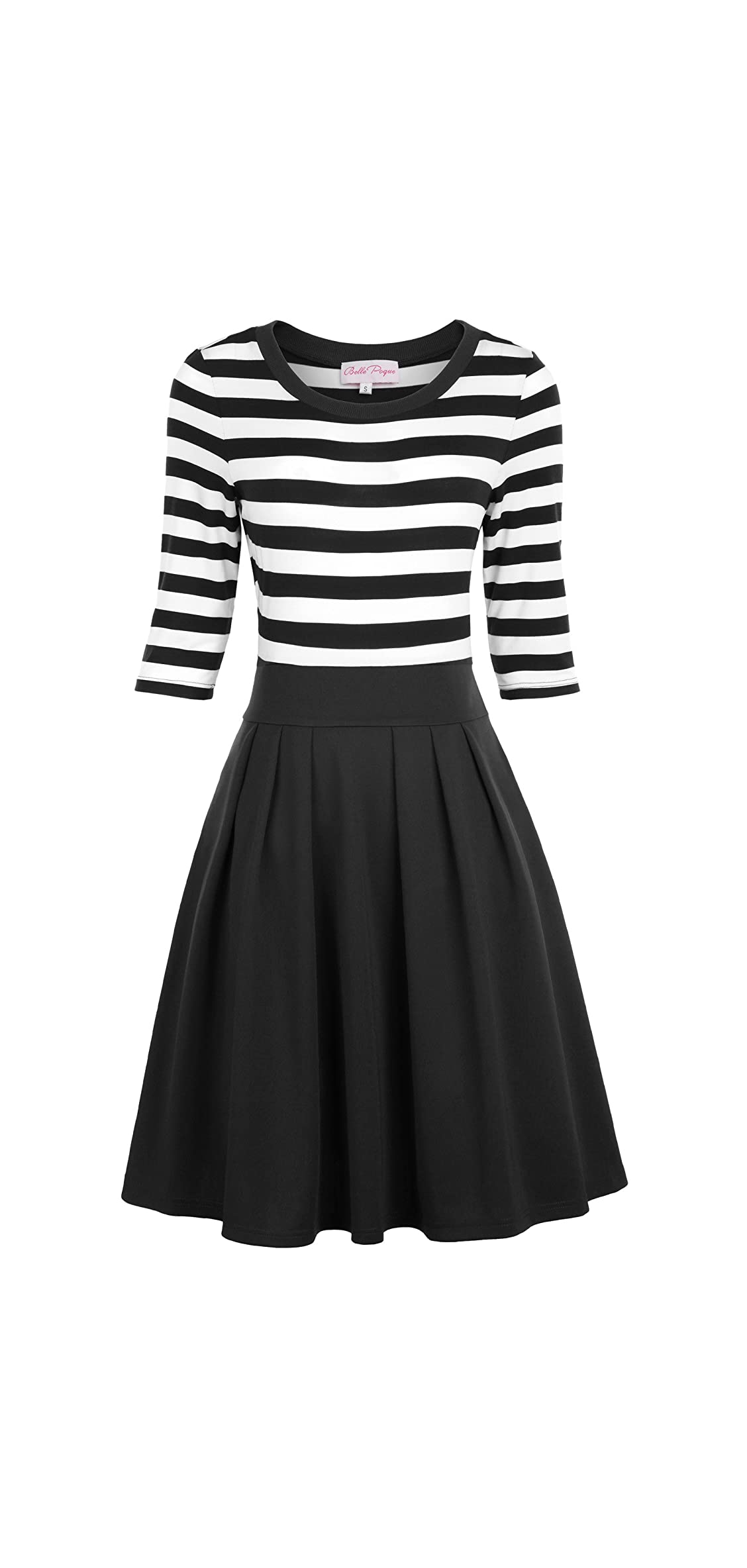Women's Classy Scoop Neck Striped Retro Swing Dress