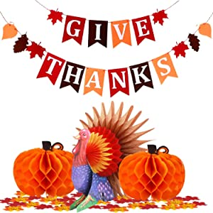 Thanksgiving Party Table Decorations Turkey Banner Honeycomb kit, Artificial Maple Leaves Pumpkin Fall Dining Centerpiece Buffet Holiday Party Supply, Home Office Indoor Outdoor Background for Kids