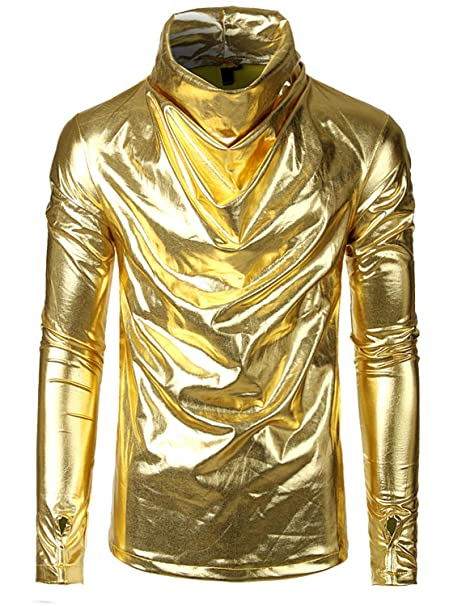 SOWTEE Men's Turtleneck Slim Fit Metallic Shiny Party Pullover Long Sleeve Shirt