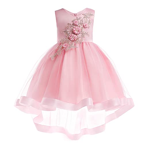 068cef3f63c1d Gentonkids Girls Embroidery Ball Gown Sleeveless Cocktail Wedding Pageant  Dresses 2-9 Years