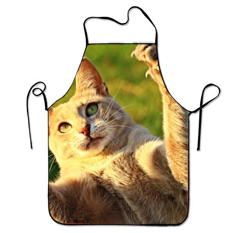 Tiger Cat Mackerel Tigerキッチン料理エプロン女性と男性用調節可能なネックストラップレストランホームキッチンエプロンBib for、料理BBQ   B07FX6HVQT
