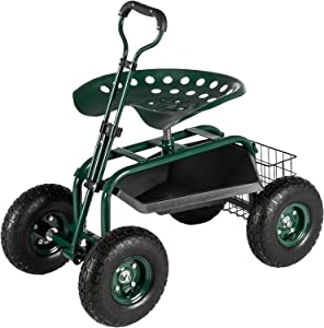 VINGLI Garden Cart with Swivel Seat and Wheels Gardening Work Seat with Extendable Steer Handle & Tool Tray, Patio Wagon Scooter, Rolling Garden Seat