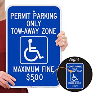 "SmartSign ""Permit Parking Only - Tow-Away Zone, Max Fine $500"" Handicap Parking Sign 