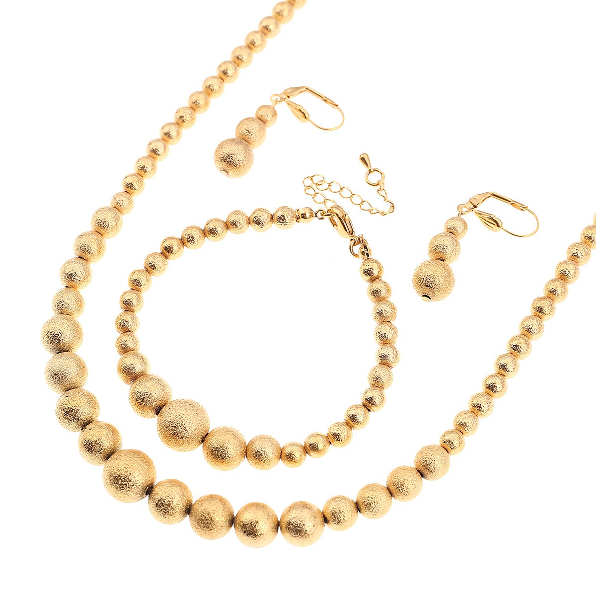 CB Gold Jewelry African Beaded Earrings Necklace Bracelet Set Glossy Bead Ball Ethiopian Yiwu CB Jewelry Co.ltd G1103