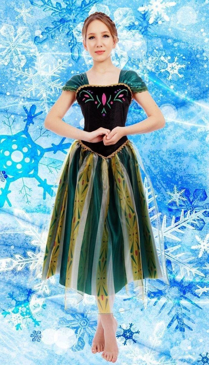 Erwachsene Damen Eiskönigin Anna Kostüm Cosplay Party Gewand Fancy ...