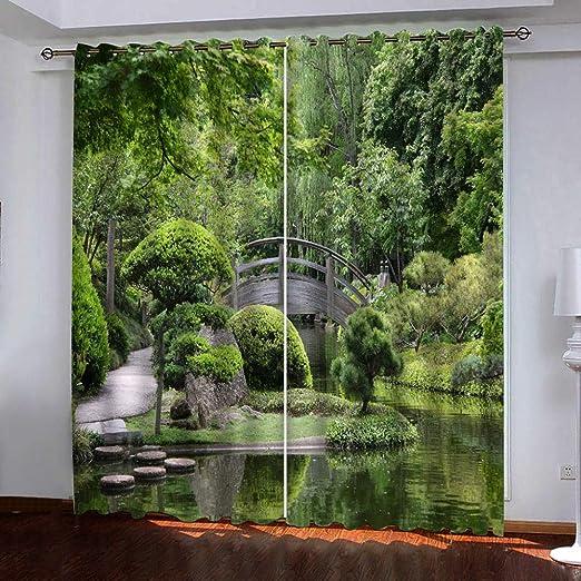 Aislamiento acústico 2 PCs modernos paneles súper blando Ojal cortina del apagón, Manor puente de madera, Blackout cortinas del dormitorio sala de estar la habitación de los niños Mantener caliente in: Amazon.es: