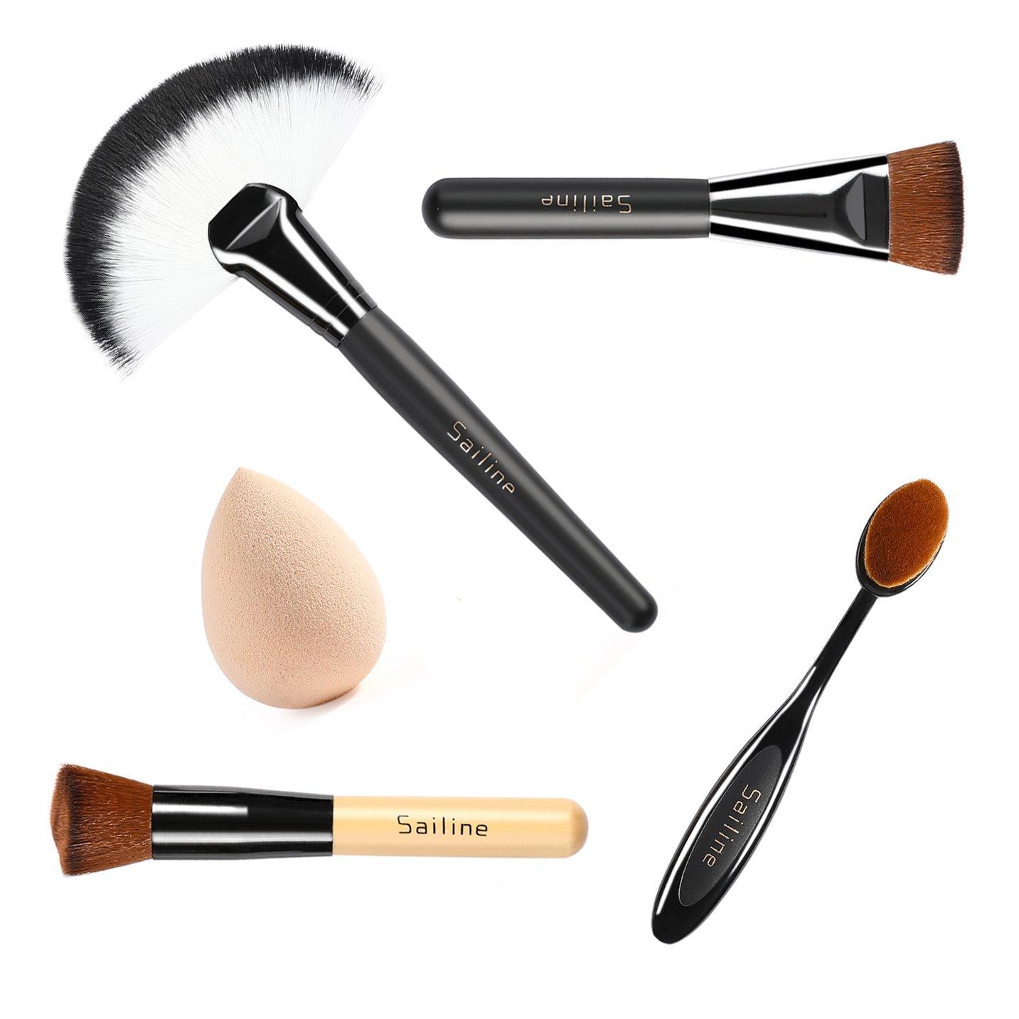 SAILINE 2018 NEW Foundation Cream Contour Powder Concealer Foundation Cosmetics Tool Makeup Brushes Toothbrush Mixing Sets (black)