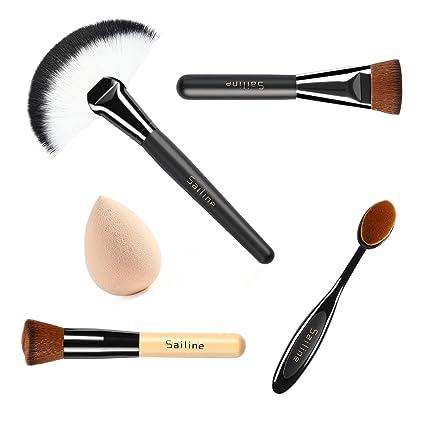 SAILINE 2018 Fundación Crema Contorno Polvo Corrector Base Cosméticos Herramienta Brochas de Maquillaje Cepillo de Dientes