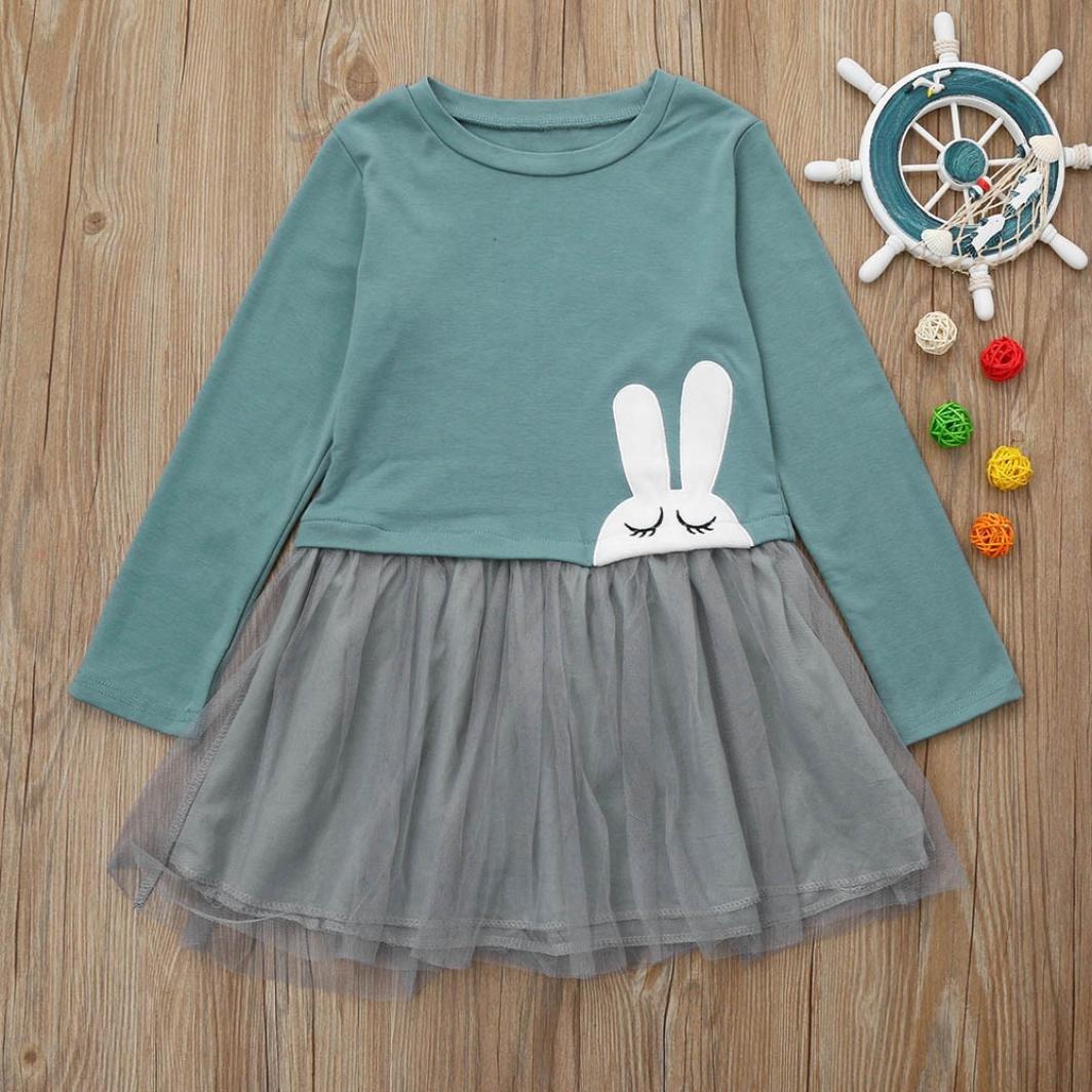 Sunbona Toddler Baby Girls Princess Rabbit Print Patchwork Gauze Long Sleeve Dress Kids Casual Party Wedding Dresses Clothes