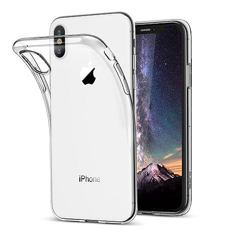 Funda iPhone X, Vkaiy iPhone X Carcasa Suave TPU con [Compatible con Carga Inalámbrica], Ultra Fina Silicona Case, Anti-rasguños Claro Cover para ...