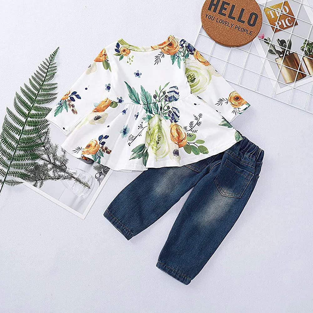 Toddler Kids Baby Girl Floral Tops T-shirt Denim Pants Trouser Jeans Clothes Set