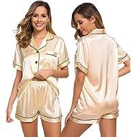 SWOMOG Womens Silk Satin Pajamas Set Two-Piece Pj Sets Sleepwear Loungewear Button-Down Pj Sets