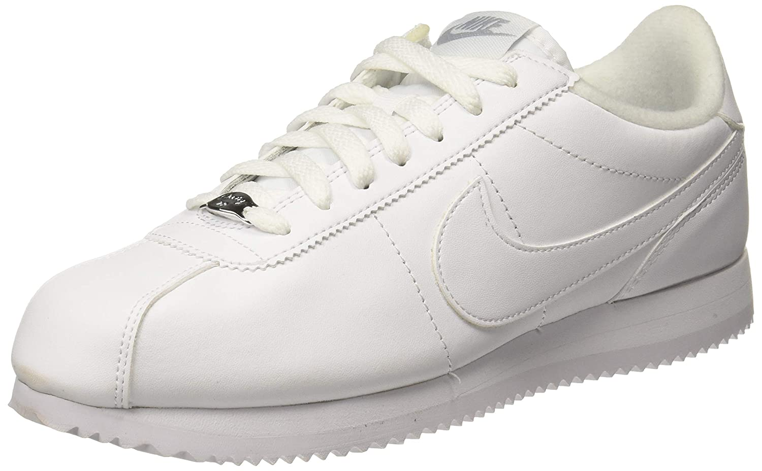 info for 71b7d 47ba9 Nike Men's Cortez Basic Leather Shoe White/Wolf Grey/Metallic Silver Size  14 M US