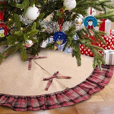 aytai 48 inches plaid christmas tree skirt red black buffalo imatited linen trees skirt christmas tree