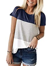 ALBIZIA Women's Short Sleeve Round Neck Top Triple Color Block Stripe T-Shirt