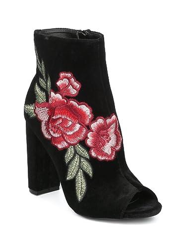 Women's Floral Embroidered Peep Toe Block Heel Bootie