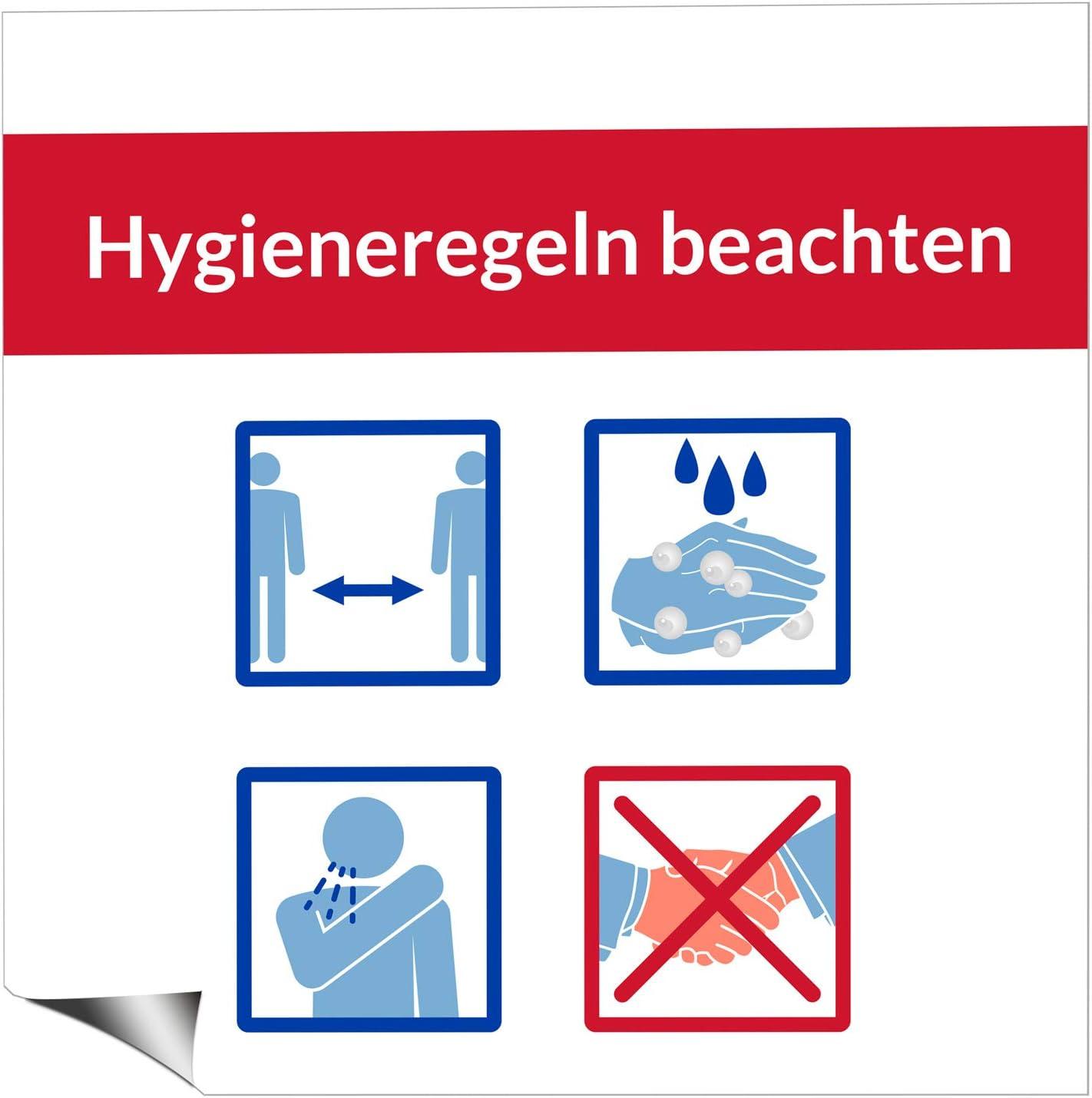 Vispronet Fu/ßbodenaufkleber Hygieneregeln 55x55 cm ✓ abl/ösbar ✓ antirutscheffekt ✓ Schutzlaminierung ✓ Aufkleber f/ür Glatte Oberfl/ächen
