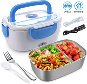 Electric Lunch Box for Car, Home, Office - 110V/12V 40W Portable Electric Food Warmer Heater Lunch Box With Food-Grade Stainless Steel Container, 1 Fork& 1 Spoon
