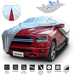 Tecoom Hard Shell Truck Cover Waterproof UV-Proof Windproof Zipper Design with Straps and Buckles Antenna Patch for All Weather Outdoor Fit Full Size Truck Length Up to 252 Inches