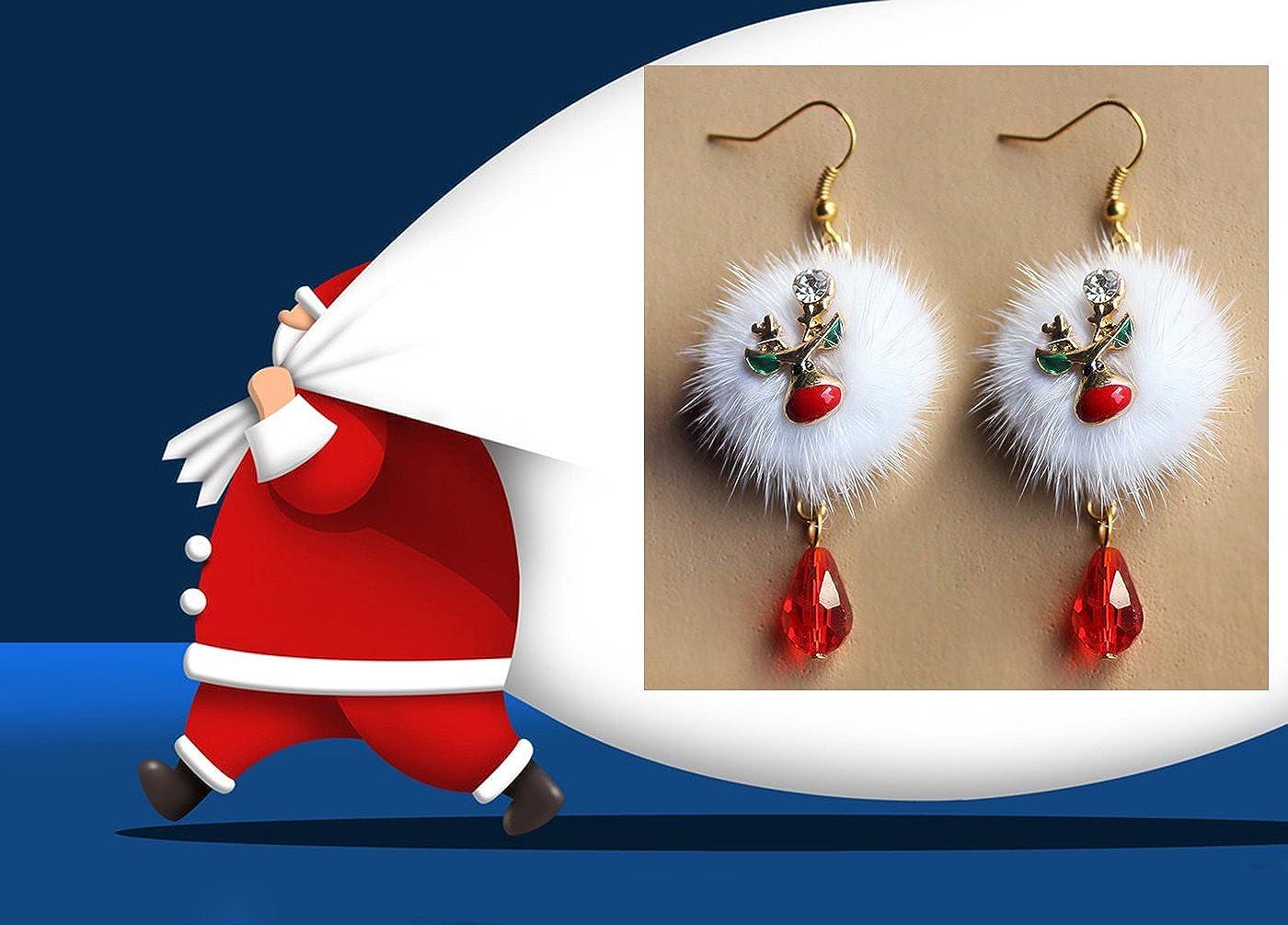 Youniker 2 Pairs Christmas Earrings Set Gift Hypoallergenic Christmas Jewelry for Women Christmas Drop Dangle Earrings Jewelry Sets for Girls Kids Teens Plush Santa Claus Enamel Deer