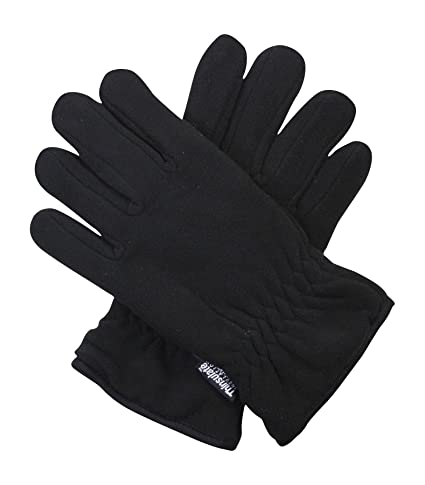 Black Thinsulate 3M 40g Thermal Fleece Winter Gloves for Men - One Size Fits All