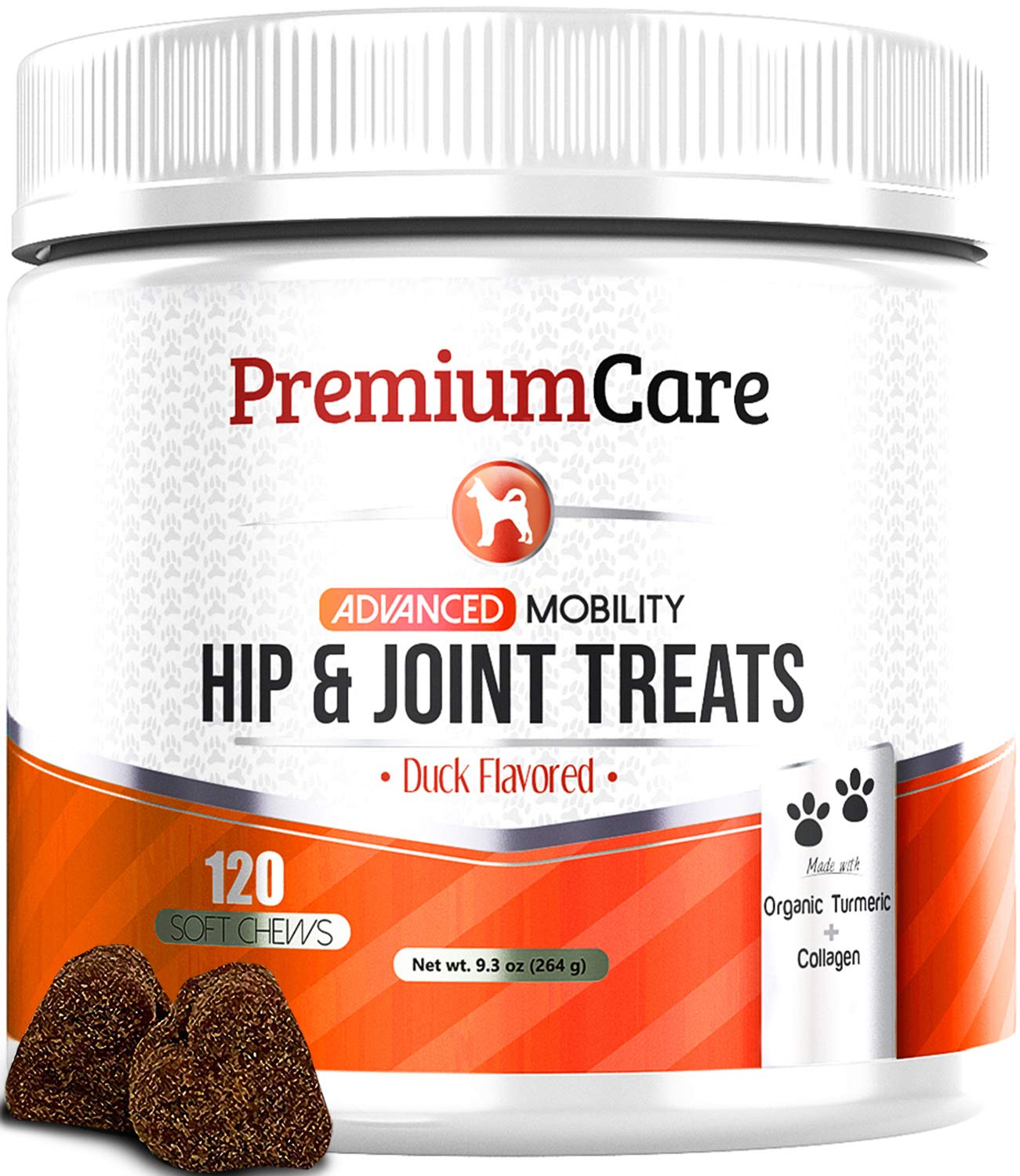 Glucosamine for Dogs - Advanced Hip & Joint Supplement for Dogs with Organic Turmeric, Chondroitin, Collagen & MSM - Supports Healthy Joint Function and Helps with Pain Relief - 120 Count Made In USA by PREMIUM CARE