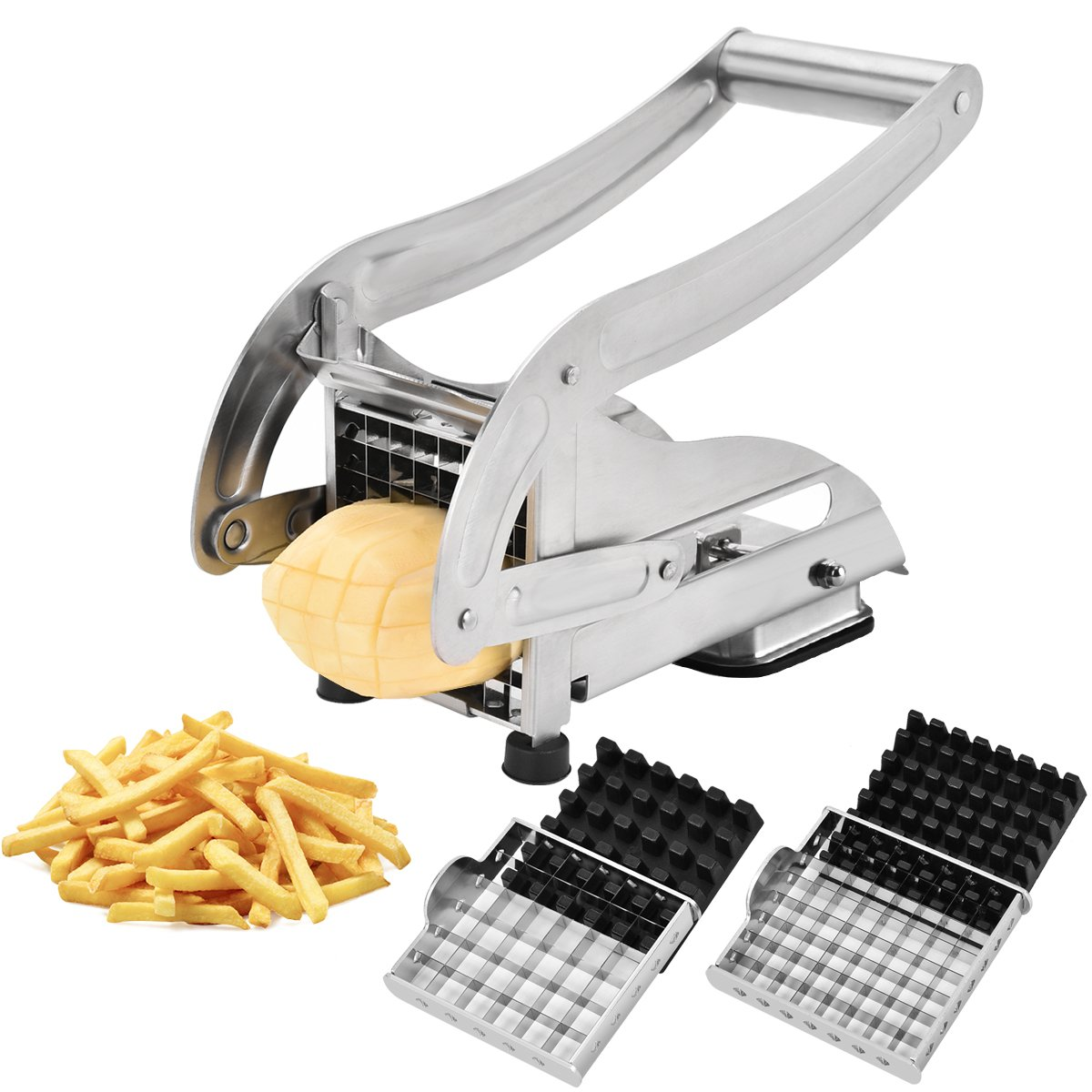 CUGLB Stainless Steel French Fries Potato Cutter with 2 Interchangeable Blades and Sucker Bottom for Fruit Veg into Finger Sticks