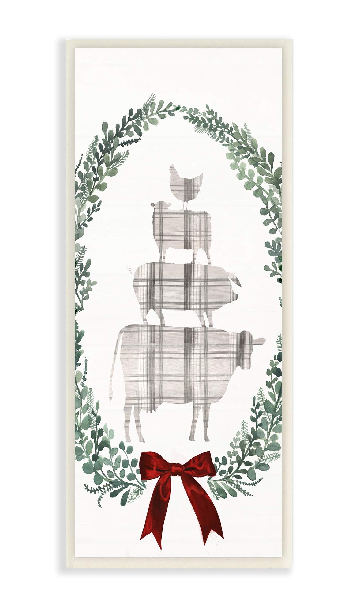 The Stupell Home Décor Collection Holiday Farmhouse Plaid Stacked Farm Animals in a Wreath Wall Plaque Art, 7 x 17, Multi-Color