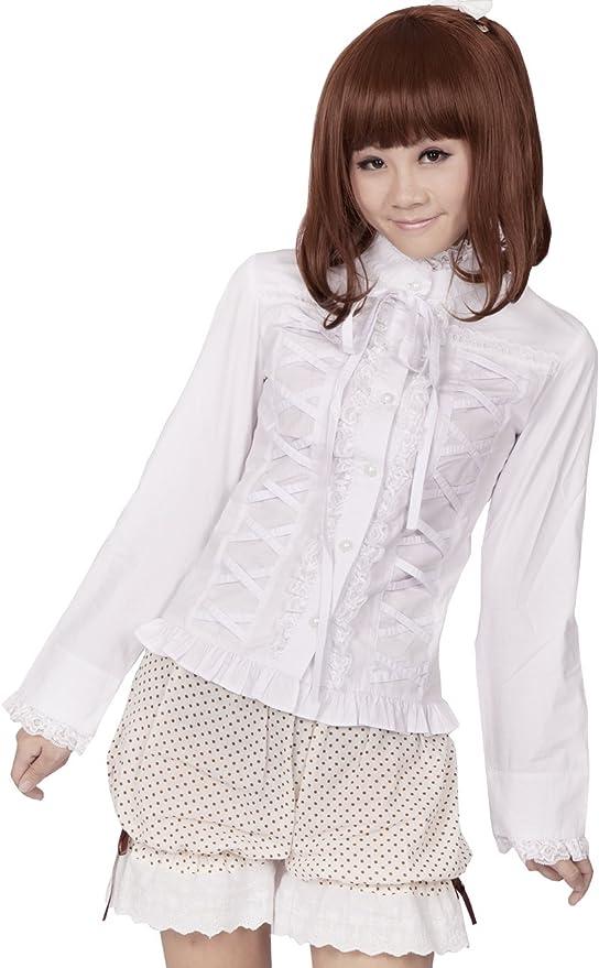 an*tai*na* Blanca Algodón Volantes Encaje Kawaii Cute Sexy Victoriana Lolita Camisa Blusa de Mujer: Amazon.es: Ropa y accesorios