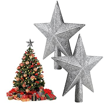 agm 2pcs glitter five pointed star christmas tree topper decoration home ornaments silver