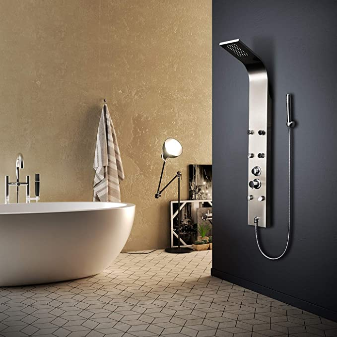 Elbe Colonne idromassaggio per doccia con 6 getti per massaggio, Colonna doccia 3 funzioni, Pannello doccia in acciaio inossidabile multifunzione con soffione a pioggia, moderno ed elegante _RNP-N07