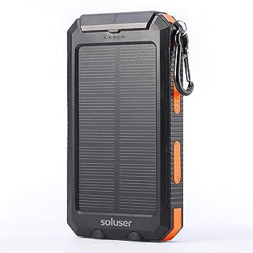 soluser 10000 mAh cargador solar portátil Batería externa Cargador de unidades, IP67 resistente al agua 2 puertos USB Solar Power Bank Cargador de ...