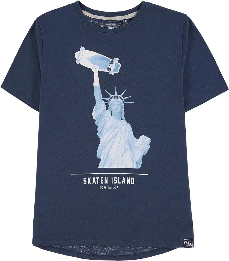 TOM TAILOR Kids T-Shirt Placement Print Camiseta, Azul (Dress Blue 3043), 140 para Niños: Amazon.es: Ropa y accesorios
