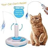 Focuspet Katzen Federspielzeug, Interaktive Spielzeug Katze Elektrische Drehen Feder Spielzeug Katzenspielzeug Federangel Interaktives Katzenspielzeug Mit 360° Drehung Cat Toys Blau+Weiß