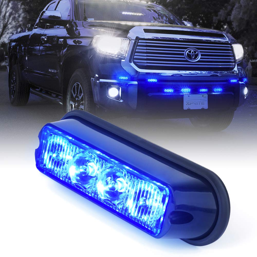 Xprite Blue 4 Led Watt Emergency Vehicle Waterproof Strobe Circuit Amazon Account Pinterest Surface Mount Deck Dash Grille Light Warning Police Head With Clear Lens