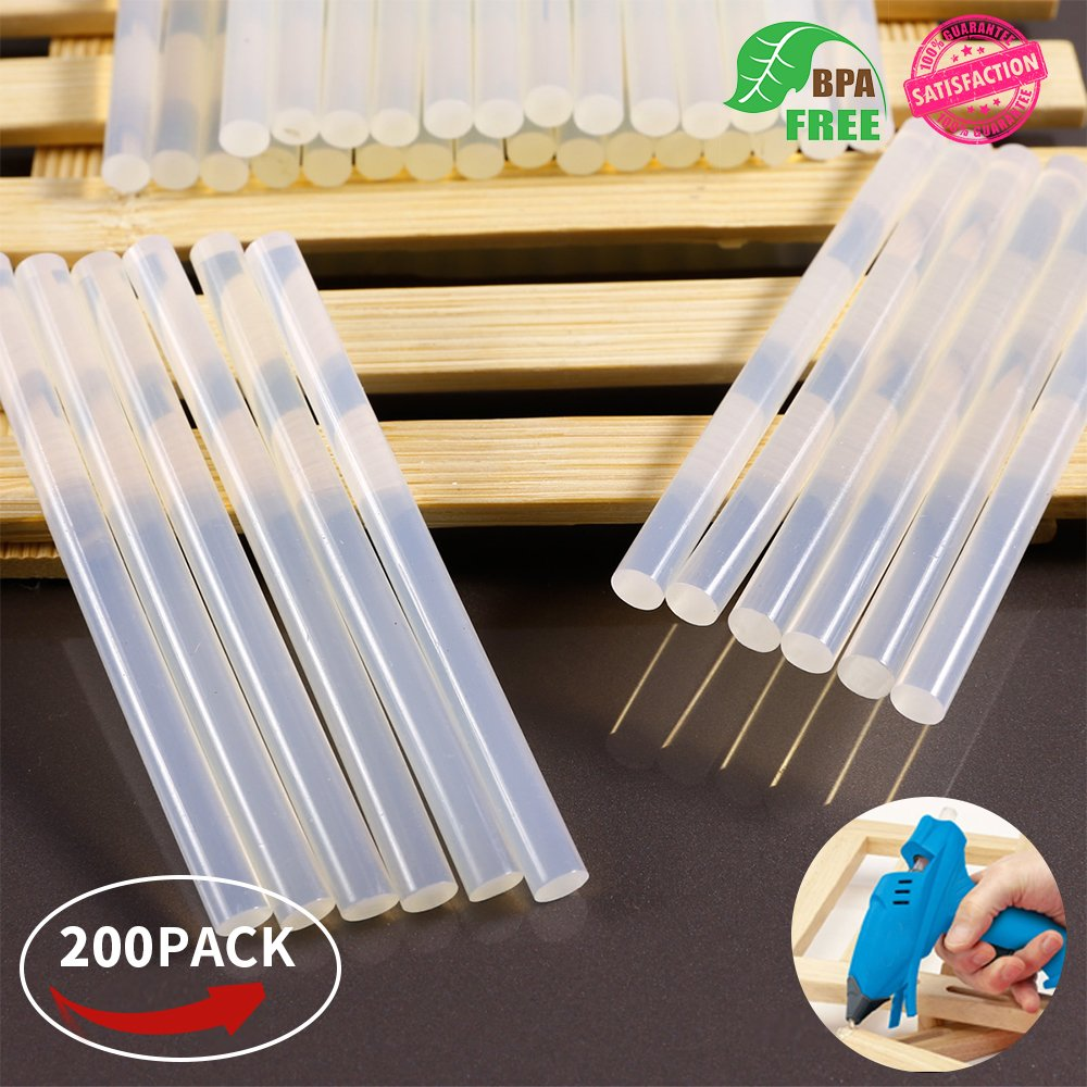 Mini Hot Glue Gun Sticks 4 In. 0.27 In. Dia 200 PACK All Purpose Hot Melt Glue Sticks for Most Hot Melt Glue Gun Clear Hot Glue Adhesive almost for All Materials for Kids Adults DIY Sealing Repairing