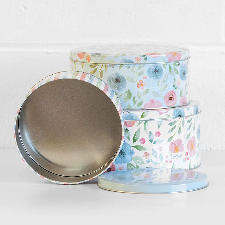 Vintage Floral Design Set of 3 Round Nesting Cake Storage Tins