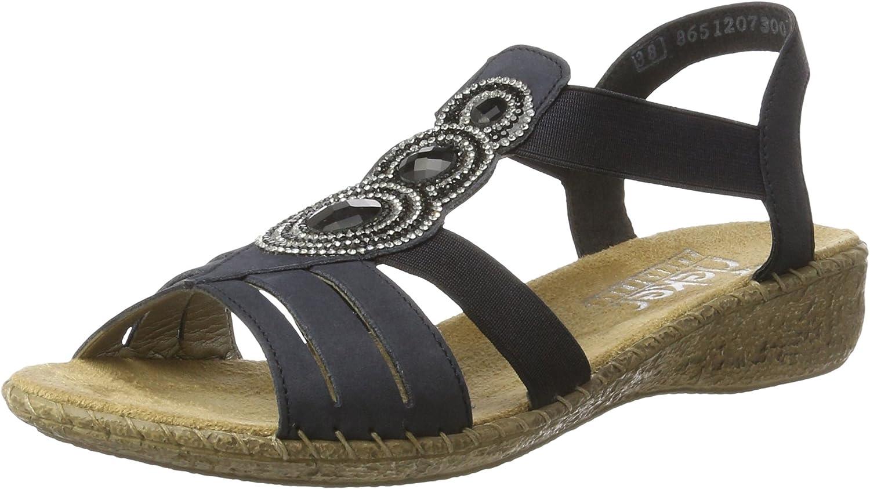 Rieker Damen 61659 Offene Sandalen mit Keilabsatz