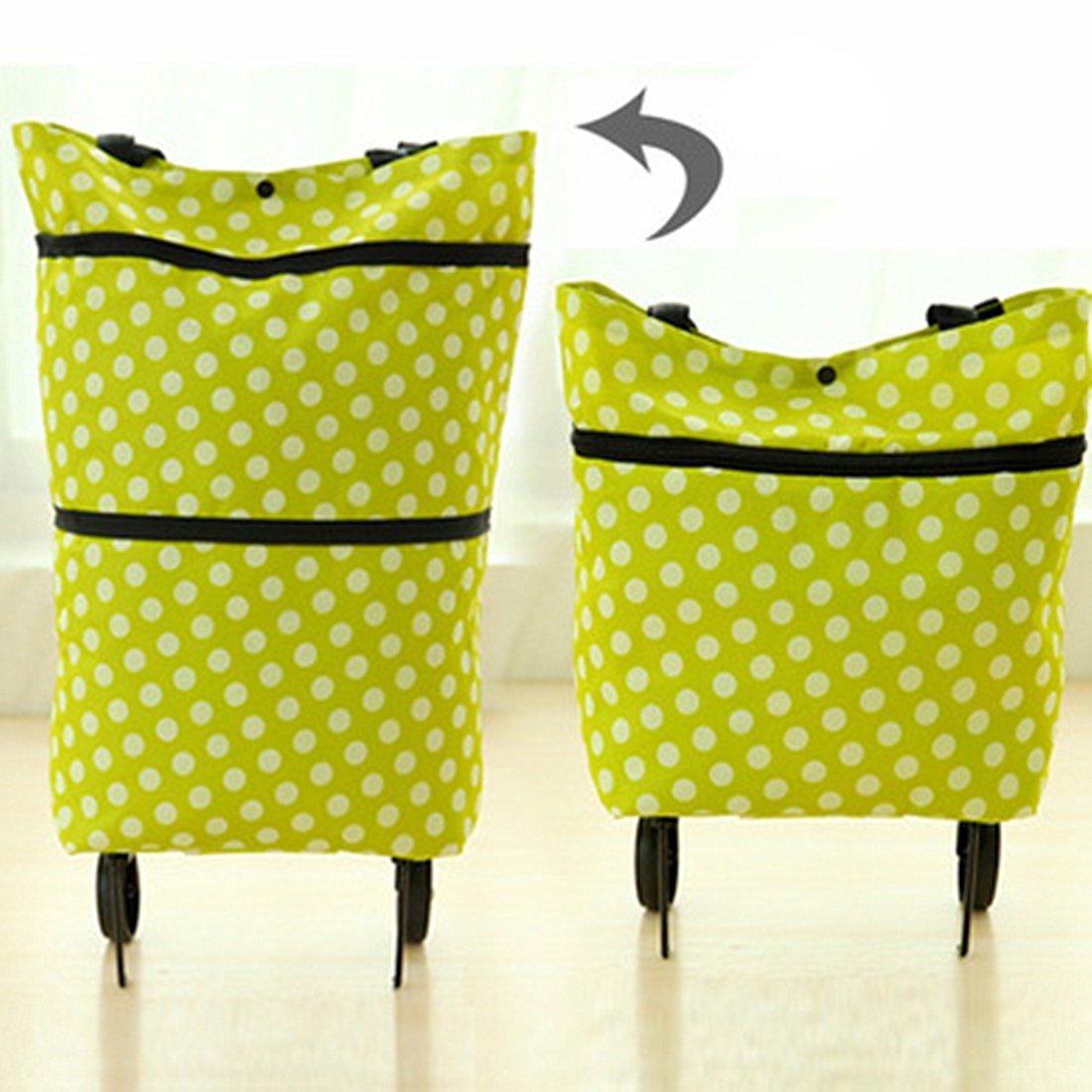 kimberleystore Shopping Trolley Dual Rad faltbar Tote (grün Punkte)