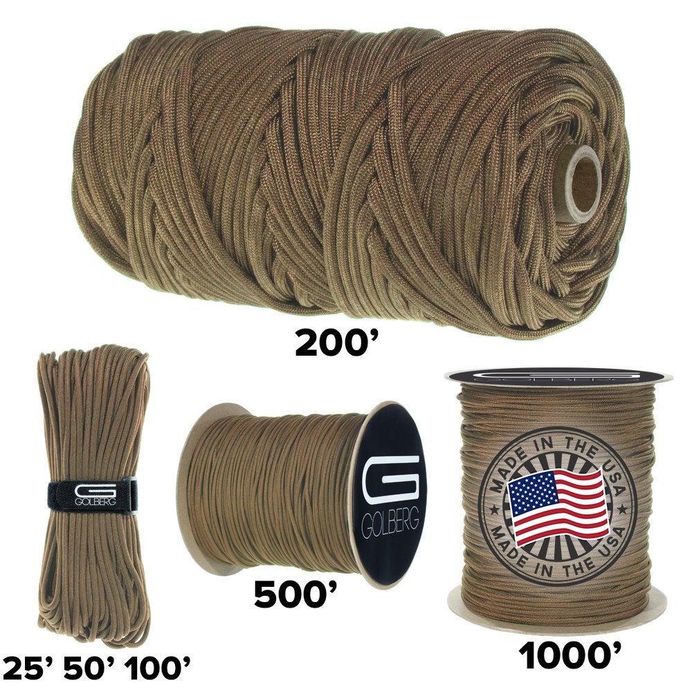 GOLBERG 750lb Paracord / Parachute Cord - US Military Grade - Authentic Mil-Spec Type IV 750 lb Tensile Strength Strong Paracord - Mil-C-5040-H - 100% Nylon - Made in USA (Coyote Brown, 50 ft in Bag)
