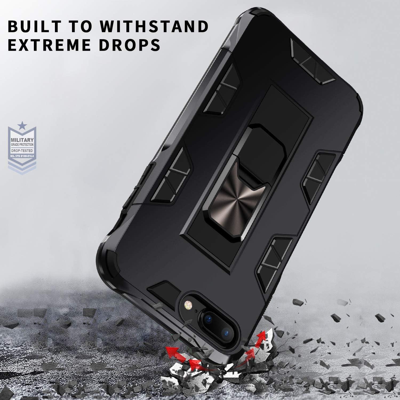 Negro Carcasa con Capa Protectora de Pintura Met/álica de PC /& Forro de Silicona TPU y Soporte Invisible Push-Pull Coche Magn/ético Soporte DOSMUNG Funda Compatible con iPhone 6 Plus//7 Plus//8 Plus