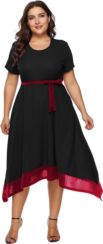 Jhichic Women's Plus Size Color Block Irregular Hem Empire Waist Wrap Short Sleeve Casual Party Midi Dress