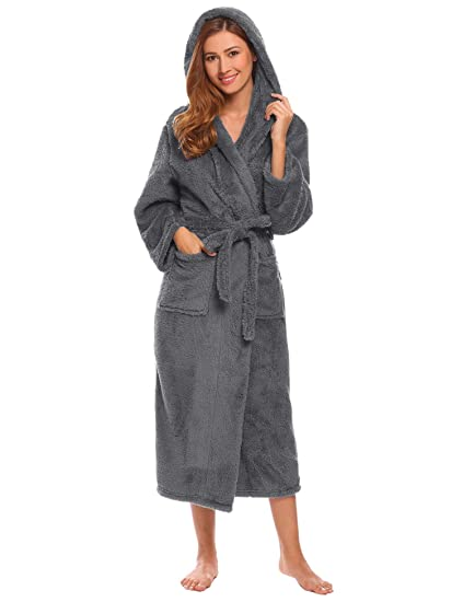 2f65e62189 Amazon.com  Dickin Women Fleece Robes Hooded Belted Plush Robes Long ...