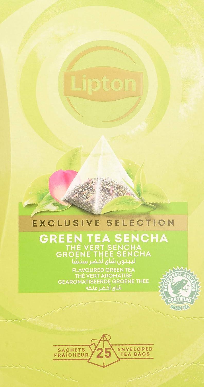 Lipton Selección Exclusiva Té Verde Sencha - 6 Cajas con 25 Pirámides, Pack de 1