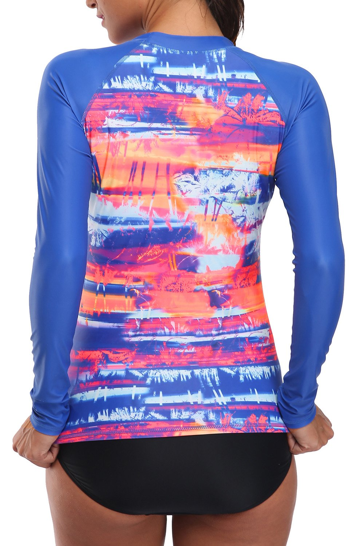 V FOR CITY Women's Long Sleeve Rashguard UPF 50+ Rash Guard Top UV Swim Shirt Swimsuit Top XL by V FOR CITY (Image #2)